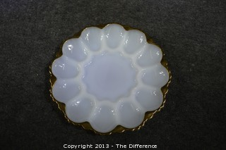 White with Gold Trim Egg Plate