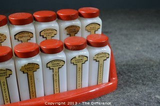 Griffin Spice Set of 10 w/Red Plastic Tray, Lids & Paper Labels