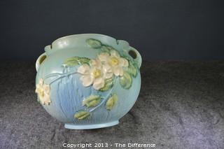 Roseville Pottery White Rose Jardiniere 653-8