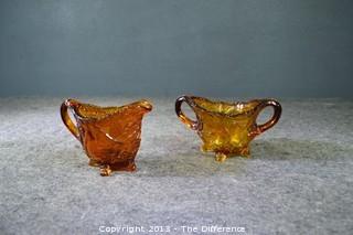 Amber Glass Cream & Sugar