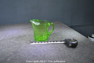 Green Depression Glass Pitcher