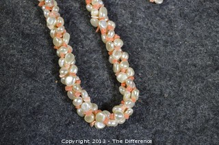 Fresh Water Pearls & Coral Necklace and Earring Set