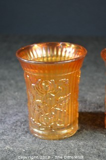 5 Marigold Lustre Rose Carnival Glass Tumblers by Imperial