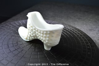 Fenton Milk Glass Hobnail Glass Shoe