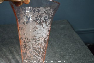 Pink Etched Depression Glass Vase