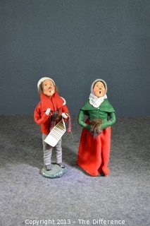 1984 Byer's Choice Victorian Caroler Couple - Bumpy Base