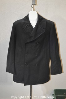 Vintage US Navy Mens Blue Navy Wool Enlisted Pea Coat Jacket Size 42R