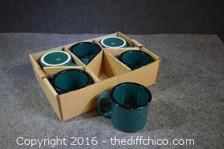 6 Forest Green Coffee Cups